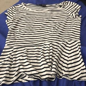 Striped t shirt with ruffled bottom